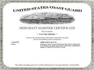 Merchant Mariner Certificate